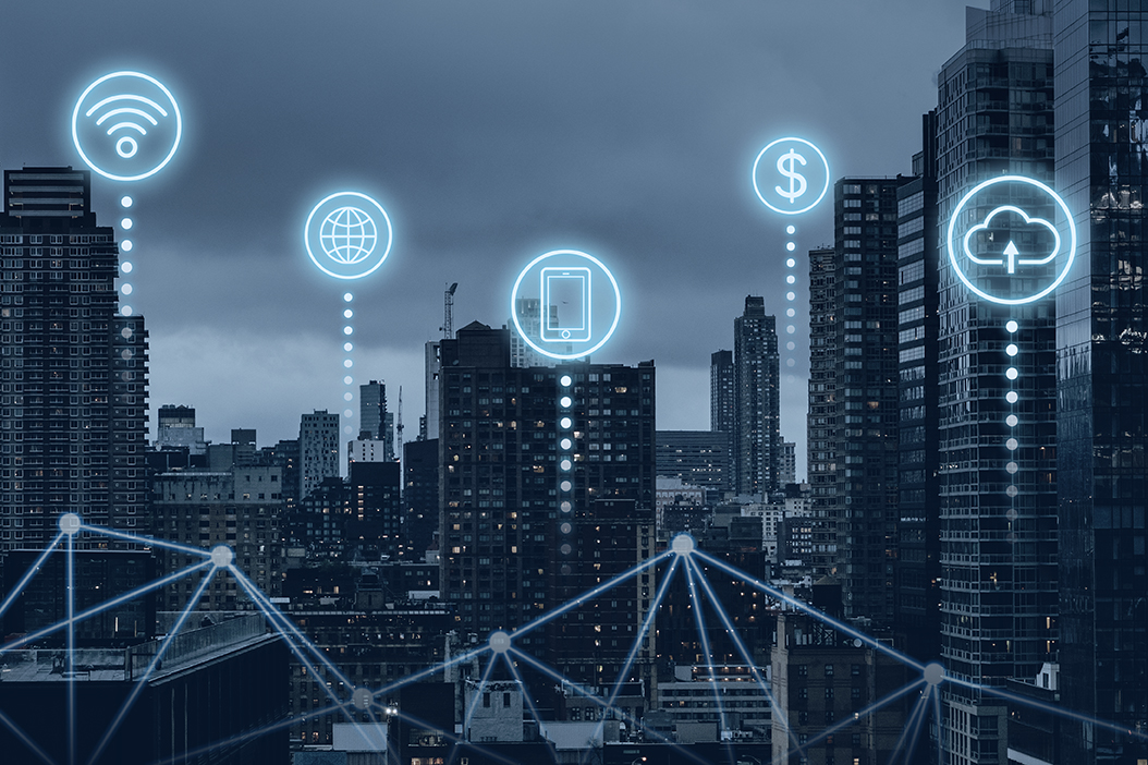 Futuristic smart city with 5G global network technology